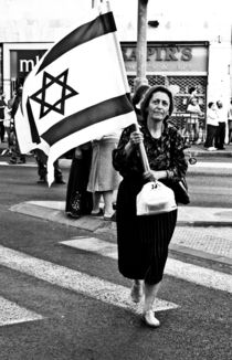 The elderly woman with a flag of Israel, Israel by yulia-dubovikova
