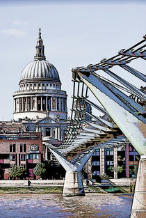 St. Paul's and The Millennium Bridge by Dawn OConnor