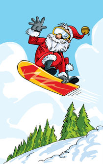 Santa Clause on a snowboard. by Anton  Brand