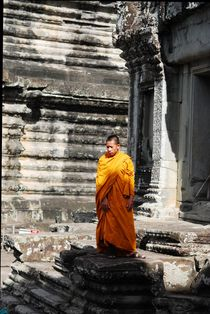 Monk in the Ruins of Angkor Wat by Benjamin So