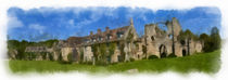 Abbaye du Vaux de Cernay 1 aquarelle by Wessel Woortman