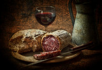 Still life with salami and sourdough by Dave Milnes