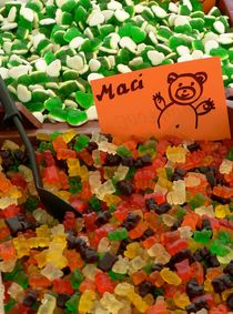 Gummi bears  - Great Market Hall Budapest by Silke Berz