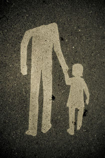 Sign with adult leading a child by Lars Hallstrom