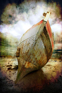 beached fishing boat by meirion matthias