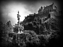 The Ross Fountain, Edinburgh in Black and white. by Amanda Finan