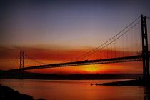Sunset Over The Forth Road Bridge, Scotland. by Amanda Finan