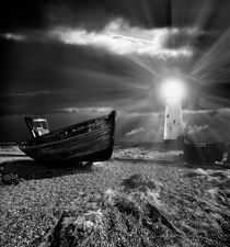 abandoned fishing boat and lighthouse by meirion matthias