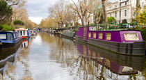 Regents Canal narrow boats by David J French