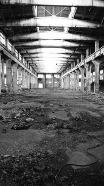 straight, abandoned USSR factory in black and white. by Daria Phobia