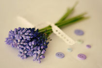 Stylized vintage bouquet of muscari flowers  von irur