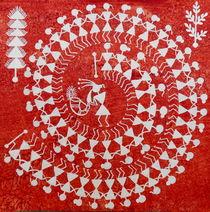 TARPA DANCE , Warli Painting,  Indian Tribal Warli Folk dance von folkstroke