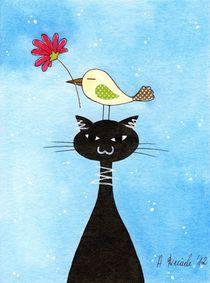 Cat and bird by Anna Bieniek