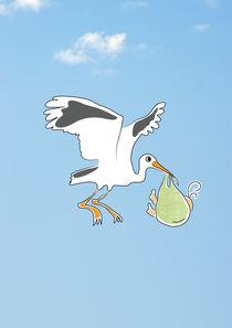 Stork with a baby by Sofia Wrangsjö