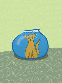 Cat in a fishbowl by Sofia Wrangsjö