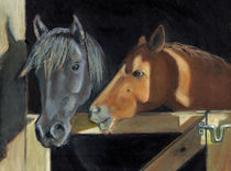 Oil Pastel Painting of Two Horse Heads by Joyce Geleynse
