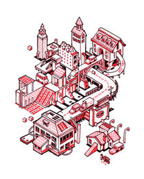 Mini city - red by Nigel Sussman