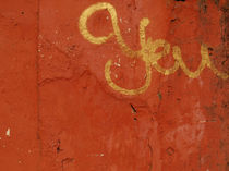 Not you - graffiti in gold on an orange wall by Marjolein Katsma