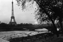 BW France Paris Eiffel tour Seine at dusk 1970s by blackwhitephotos