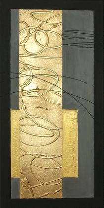 Abstrakt ohne Titel erstes Bild Goldener Streifen von Lidija Kämpf