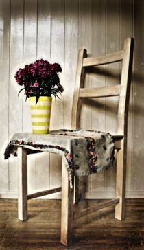 Chair and Purple Flowers by Simon Gladwin