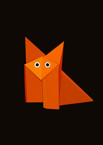 Cute Origami Fox Dark by Boriana Giormova