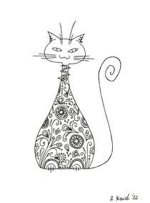 Cat and flowers by Anna Bieniek