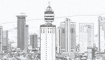 Frankfurt-skyline-gezeichnet