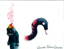 Coralillo snake and little skull-demon von Gerardo Retana-Carranza