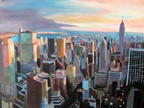 New York City Manhattan Skyline im warmen Sonnenlicht by M.  Bleichner