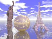 Freiheitsstatue mit Eiffelturm von Frank Siegling