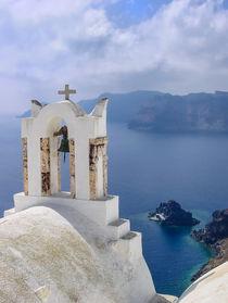 Church facing the caldera, Santorini by Christos Andronis